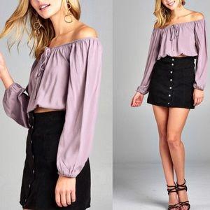 Tops - 🌹Off shoulder long sleeve purple crop top